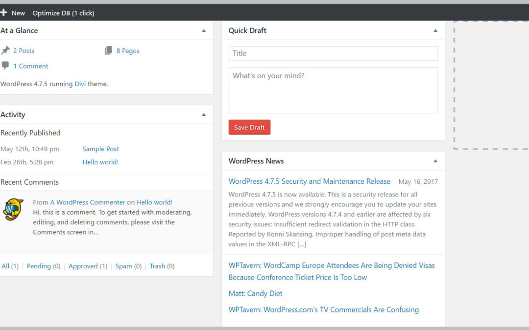 how to find few wordpress dashboard
