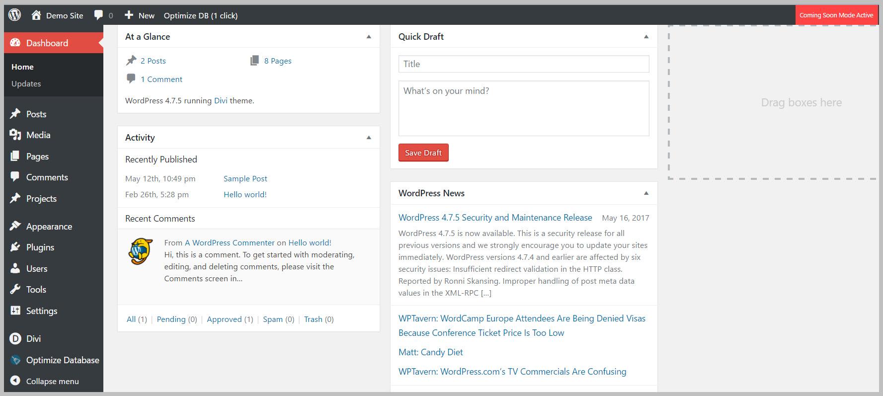 Control WordPress Dashboard