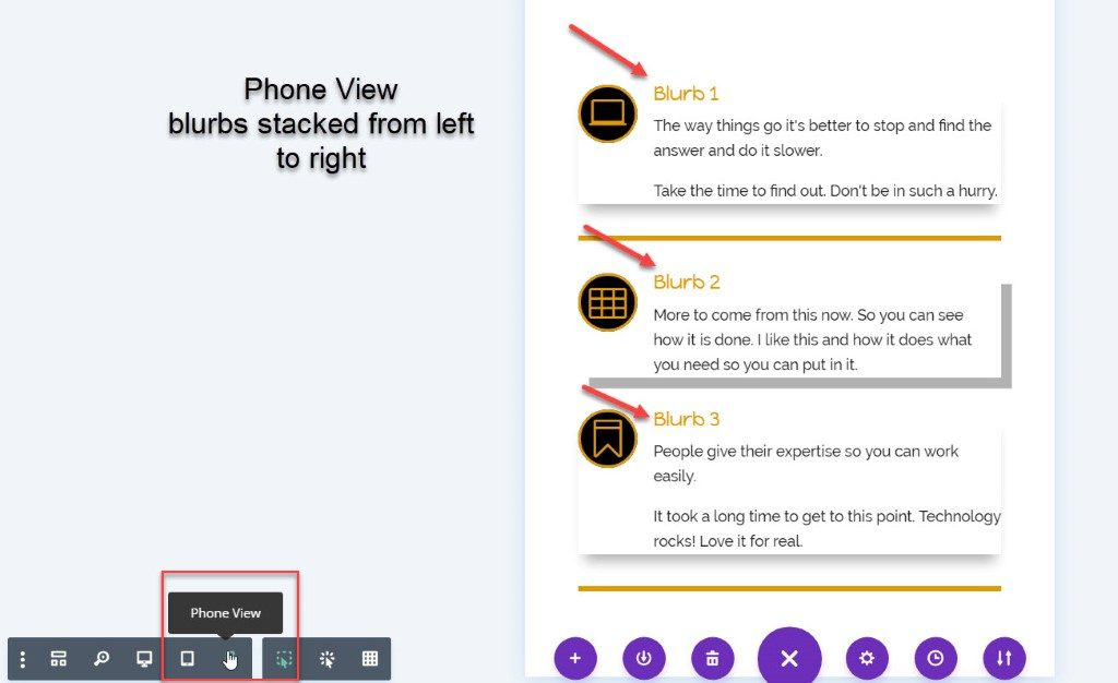 blurb stack mobile view